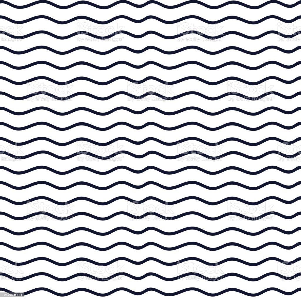 Hand drawn seamless indigo irregular wave line texture vector art illustration