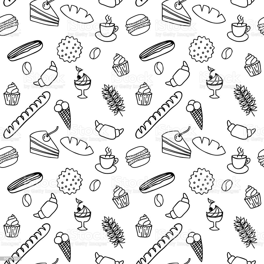Hand drawn seamless pattern  for adult coloring pages with bread vector art illustration