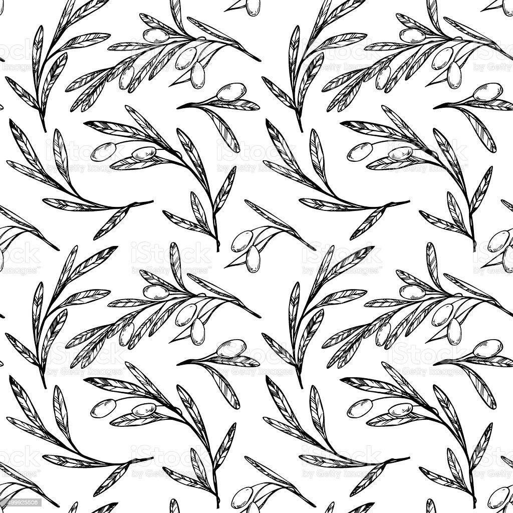 Hand drawn seamless pattern - Olive trees. Vintage background. vector art illustration