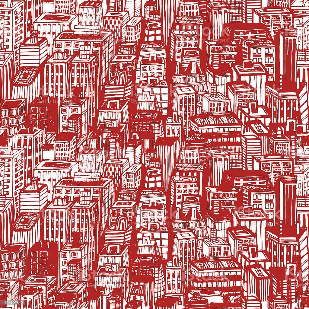 Hand drawn seamless pattern with big city New York vector art illustration