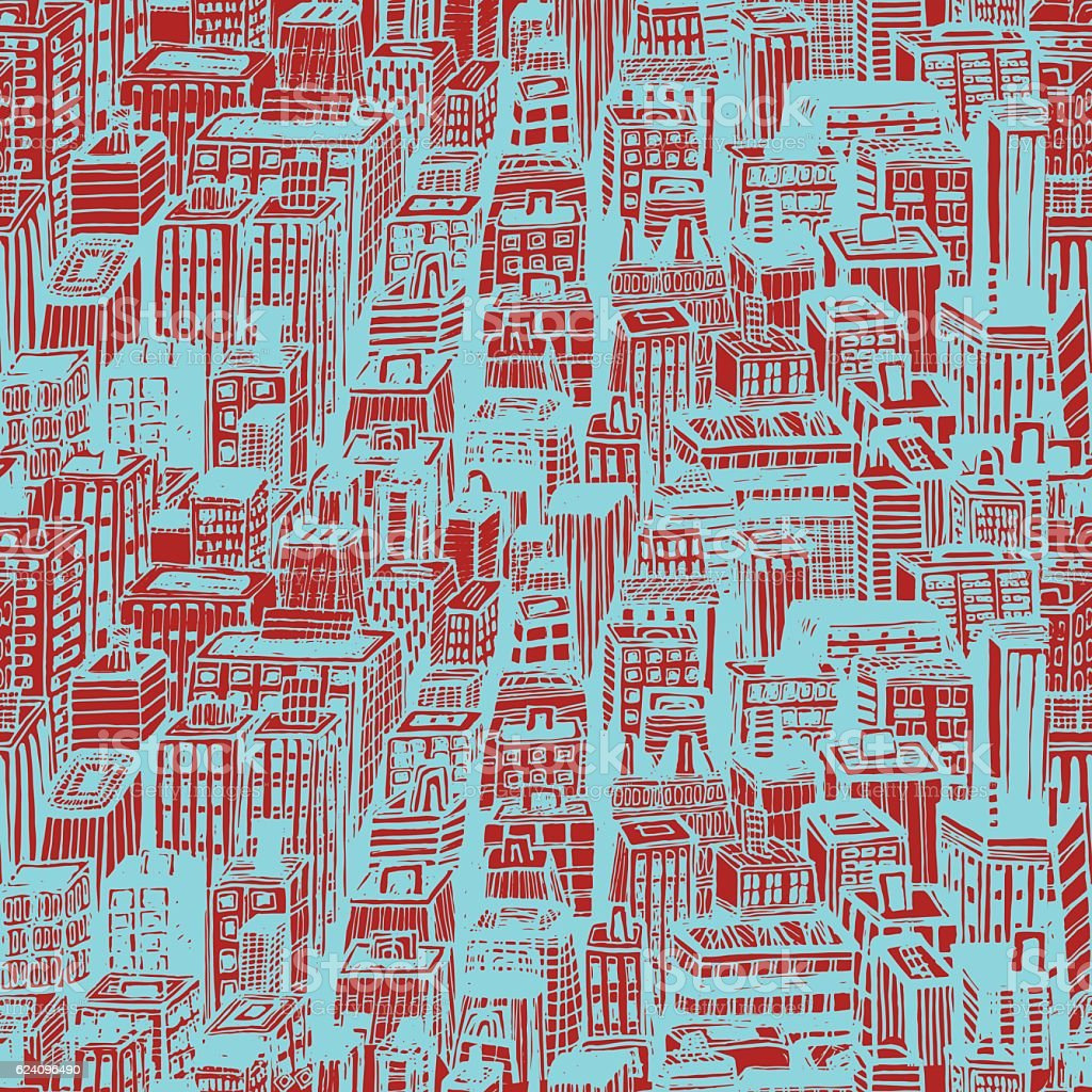 Hand drawn seamless pattern with big city New York vector art illustration