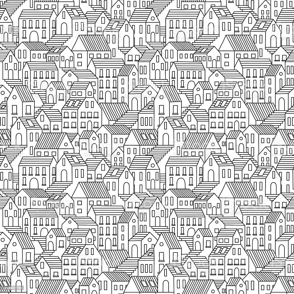 Hand drawn seamless pattern with town houses. vector art illustration