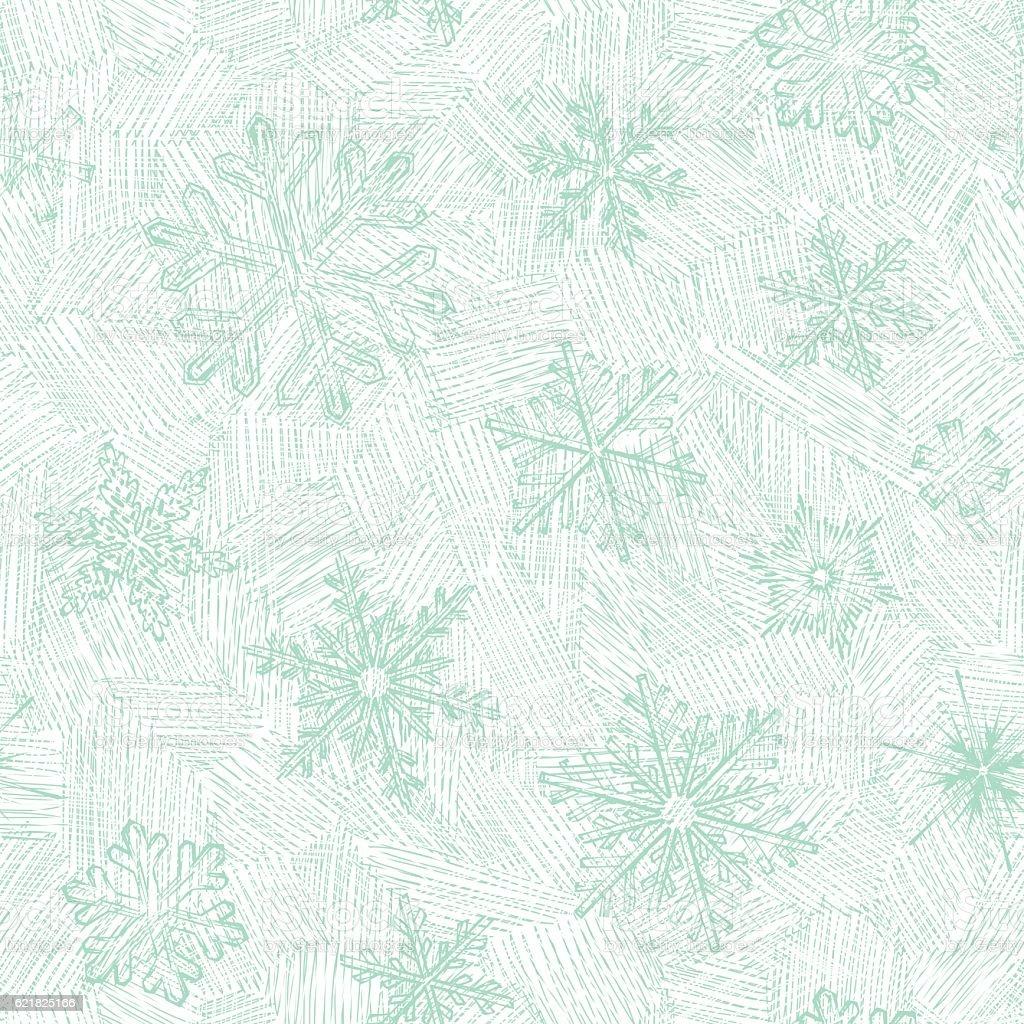 Hand Drawn Seamless Snowflakes vector art illustration