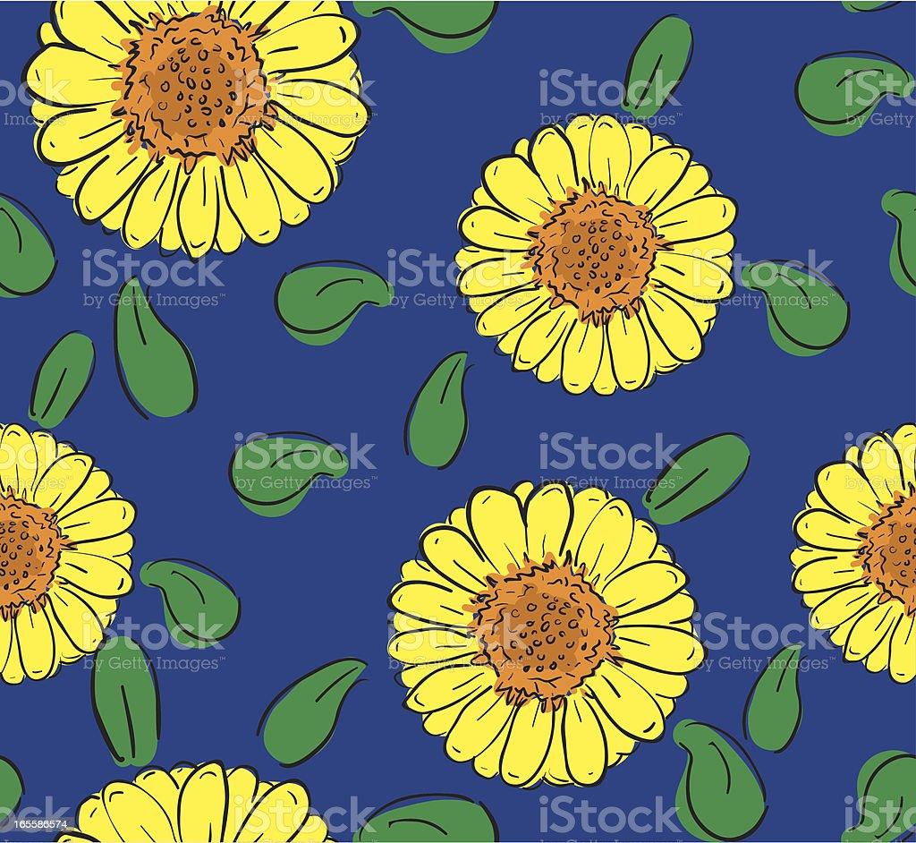 Hand Drawn Seamless Sunflower Pattern royalty-free stock vector art
