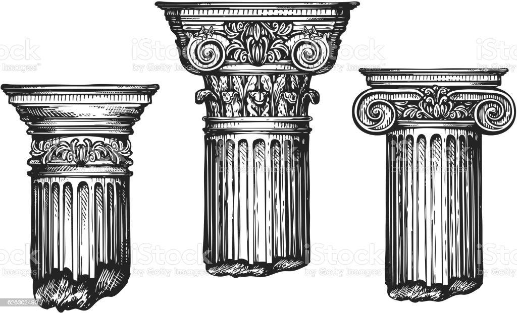 Hand drawn set architectural classical orders. Sketch vector illustration vector art illustration