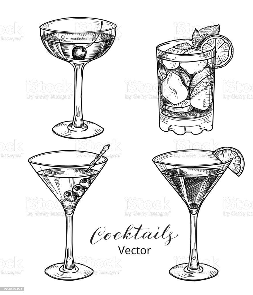 Hand drawn set of alcoholic cocktails vector art illustration