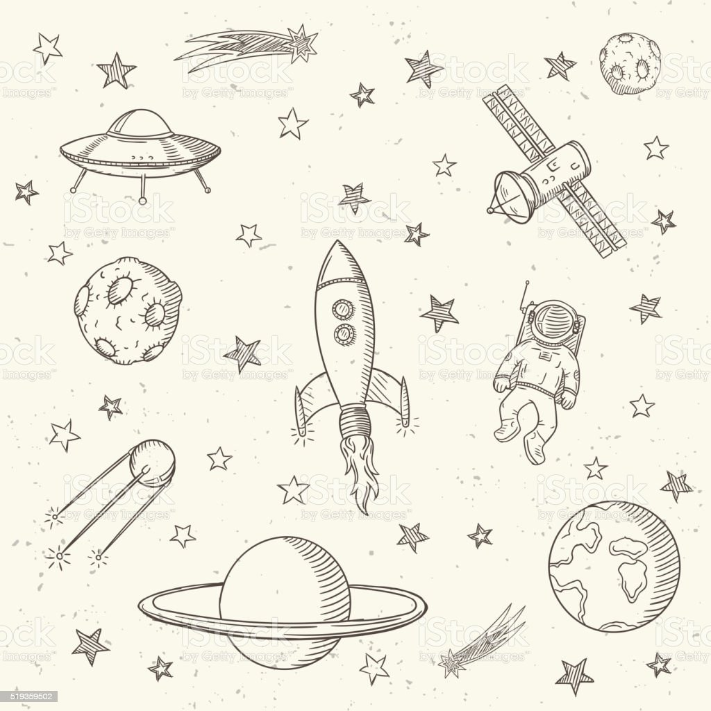 Hand drawn set of astronomy doodles. vector art illustration