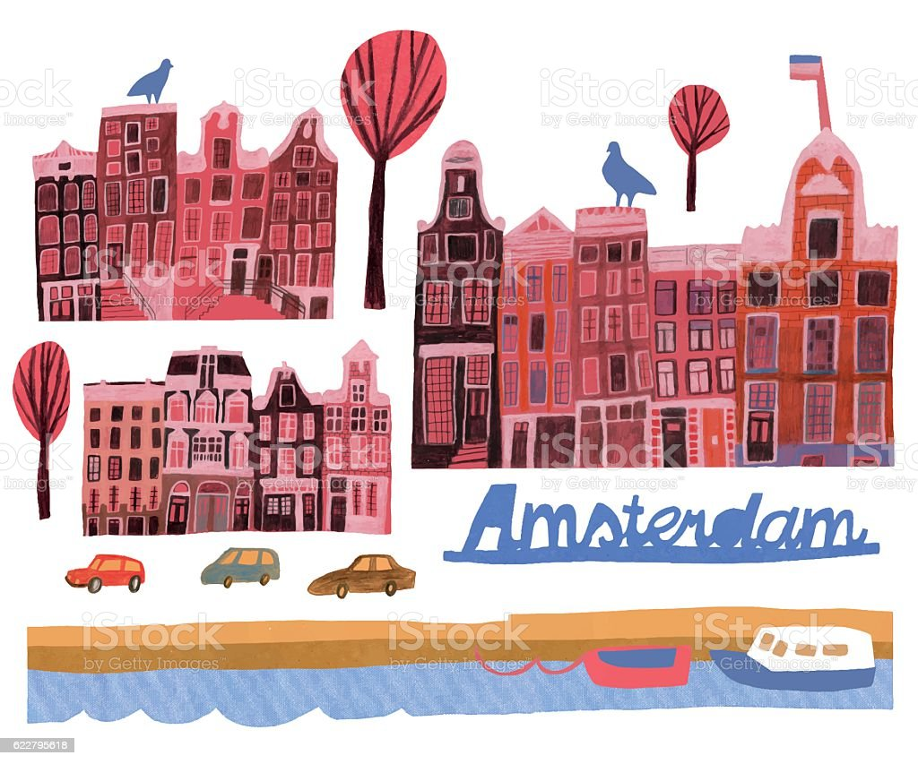 Hand drawn set of buildings in Amsterdam vector art illustration
