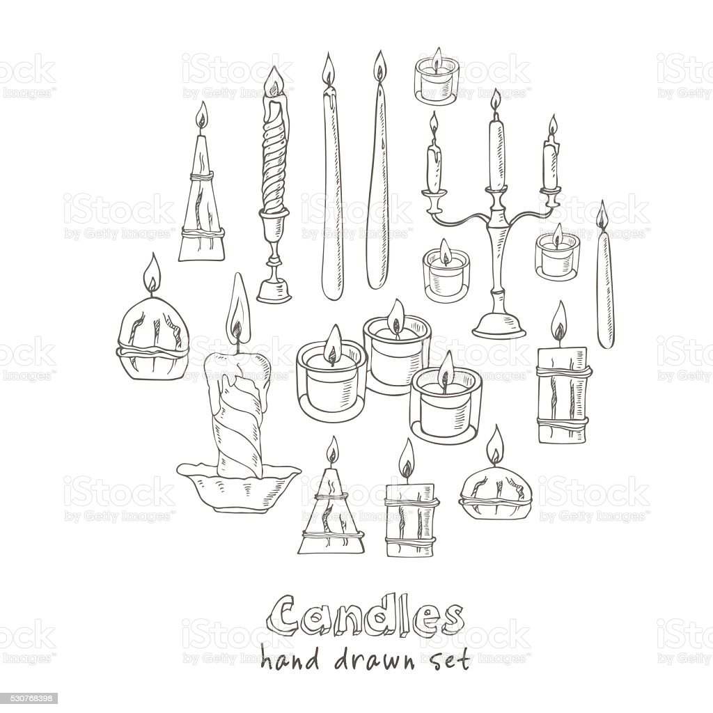 Hand drawn Set of Candles vector art illustration