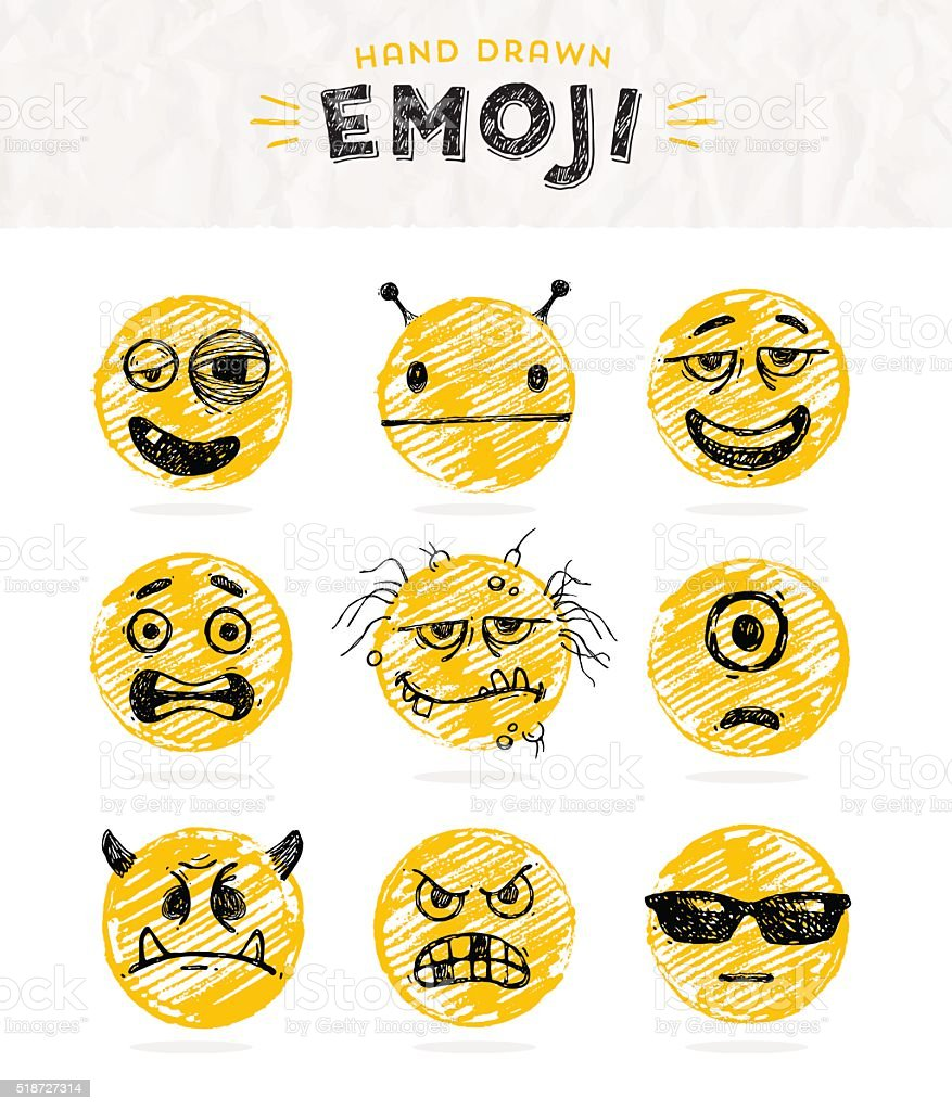 Hand drawn set of Emoticons. Set of Emoji. Smile icons. vector art illustration