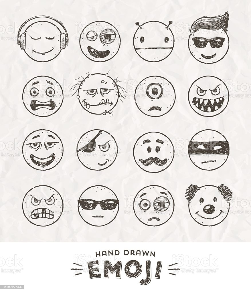 Hand drawn set of Emoticons. Set of Emoji. Smile icons. vector art illustration