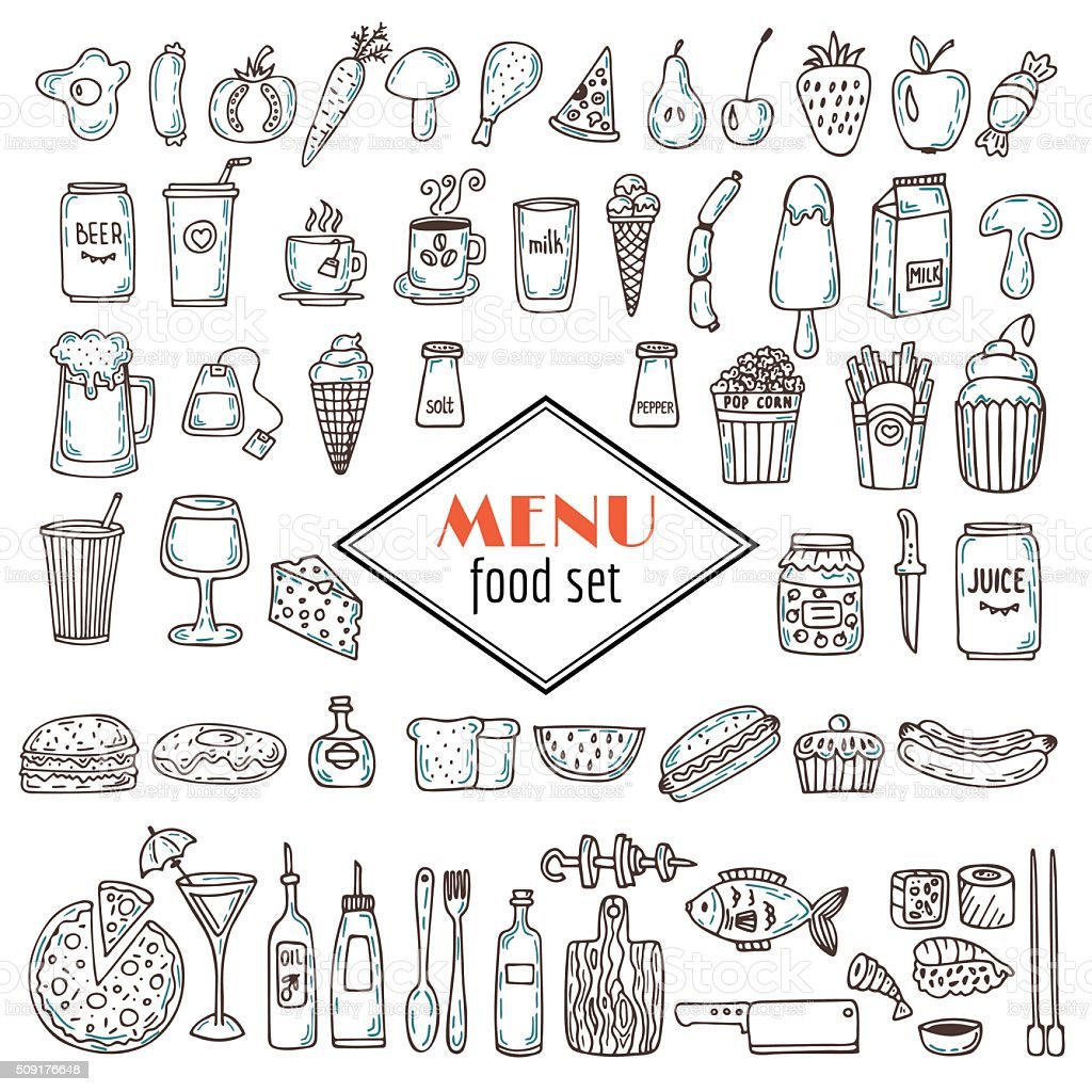 Hand drawn set of food icons. Set of various doodles, vector art illustration