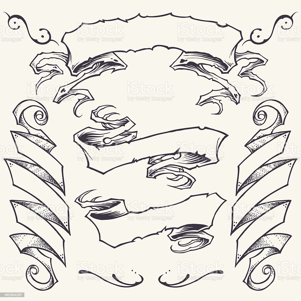 Line Art Ribbon : Hand drawn set of ribbon banner icons stock vector art