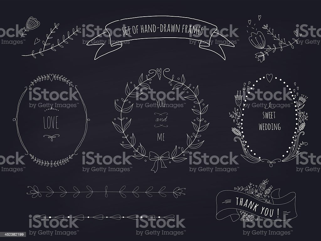Hand drawn set of wedding wreaths and ribbons vector art illustration
