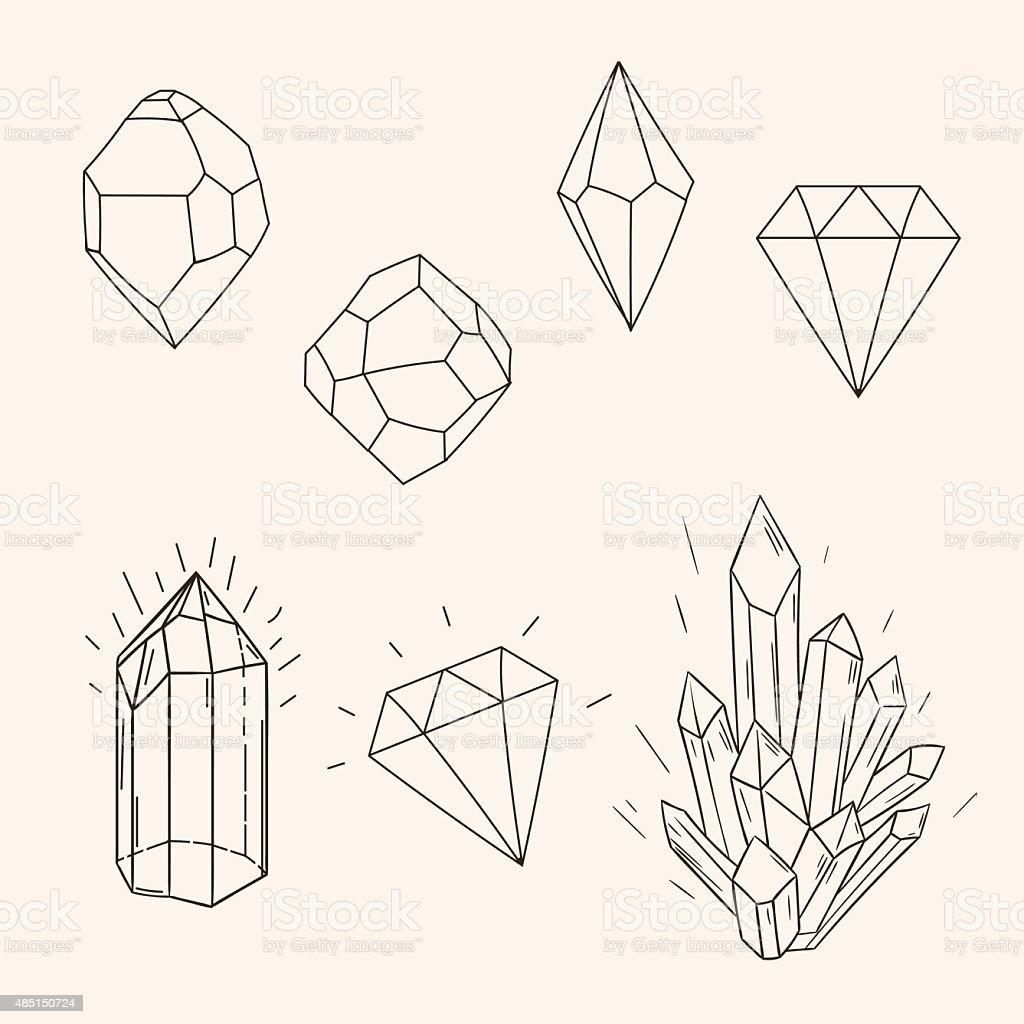 Hand drawn set sketch crystal,diamond and polygonal figure tatto vector art illustration