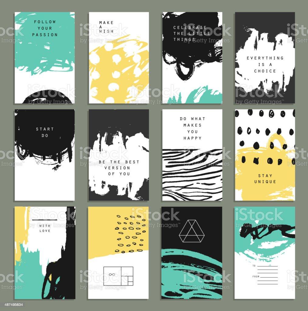 Hand drawn set with artistic invitations. vector art illustration