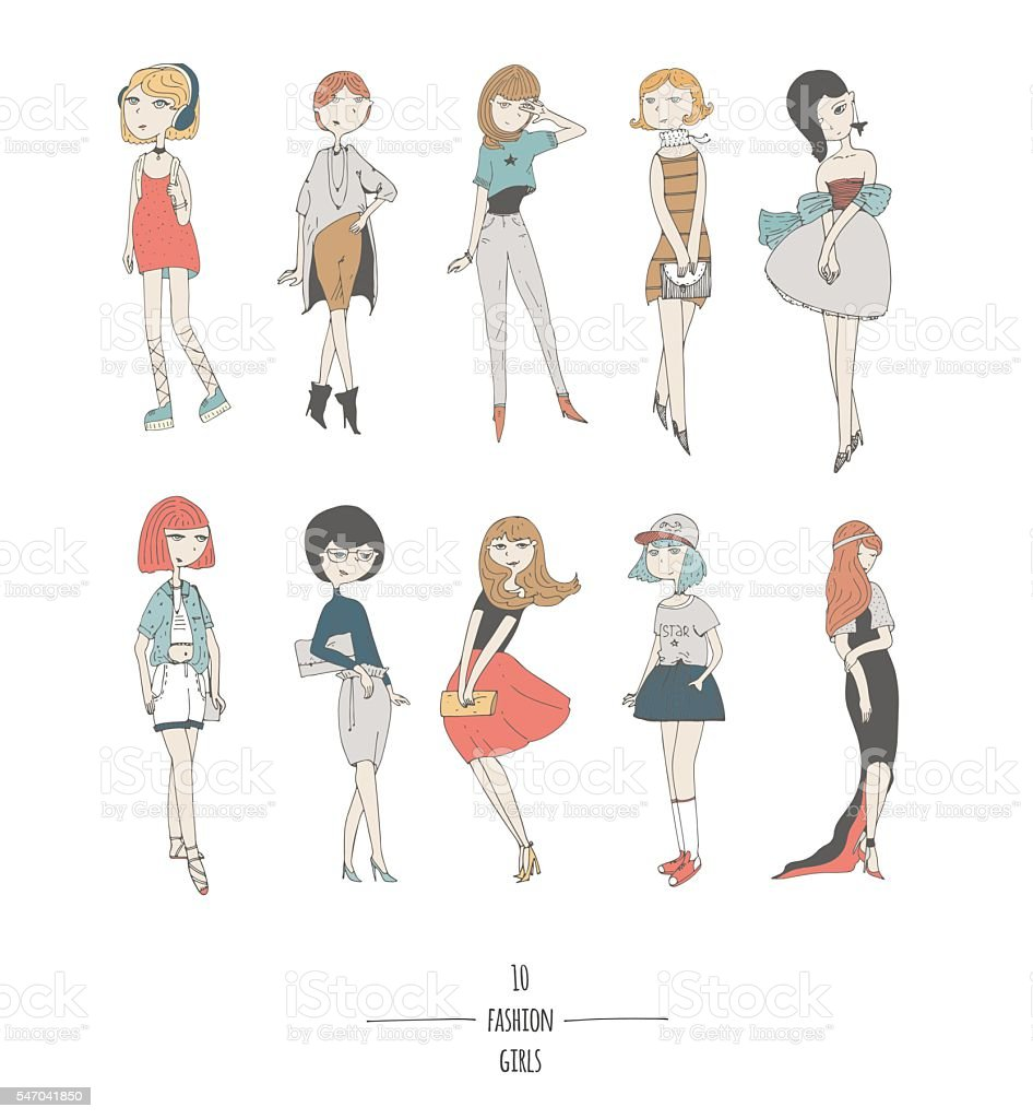 Hand drawn set with cute fashion girls in dresses vector art illustration