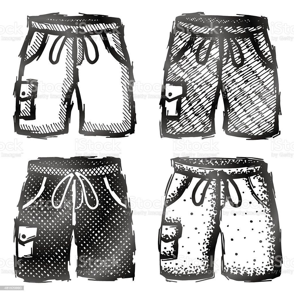Hand drawn shorts with pocket vector art illustration