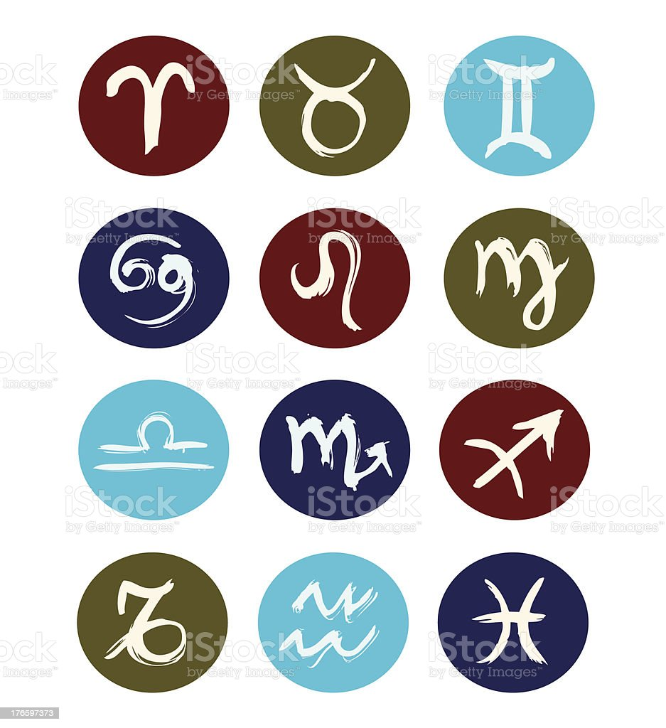 Hand drawn signs of zodiac sorted by order vector art illustration