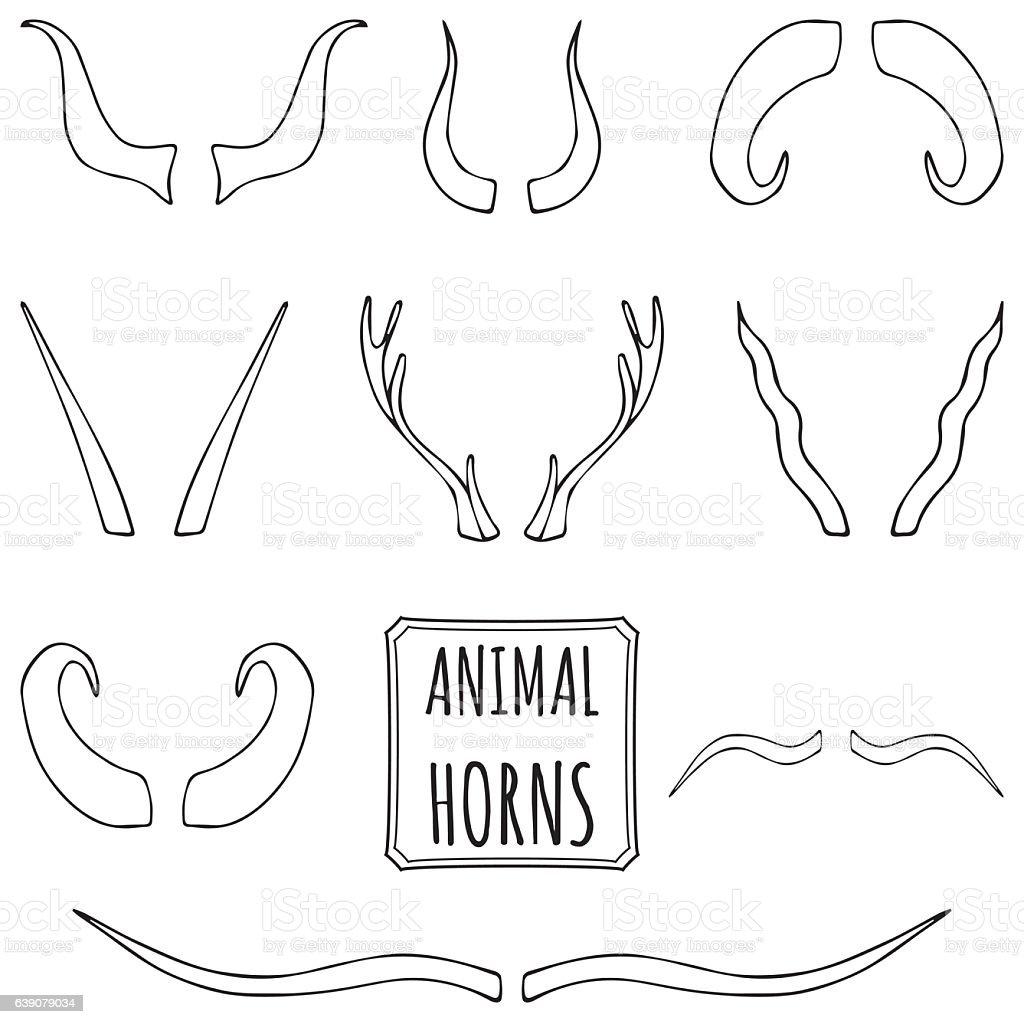 Hand drawn silhouettes set of animal horns vector art illustration