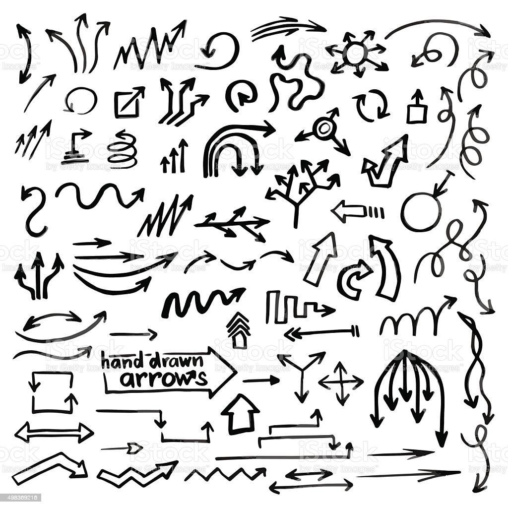 Hand drawn simple arrows vector art illustration