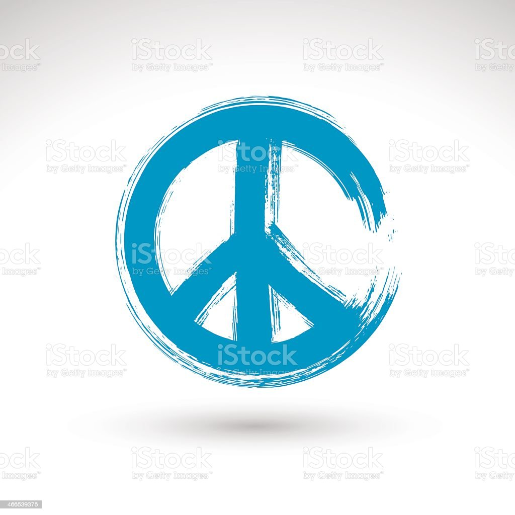 Hand drawn simple vector peace icon, brush drawing blue vector art illustration