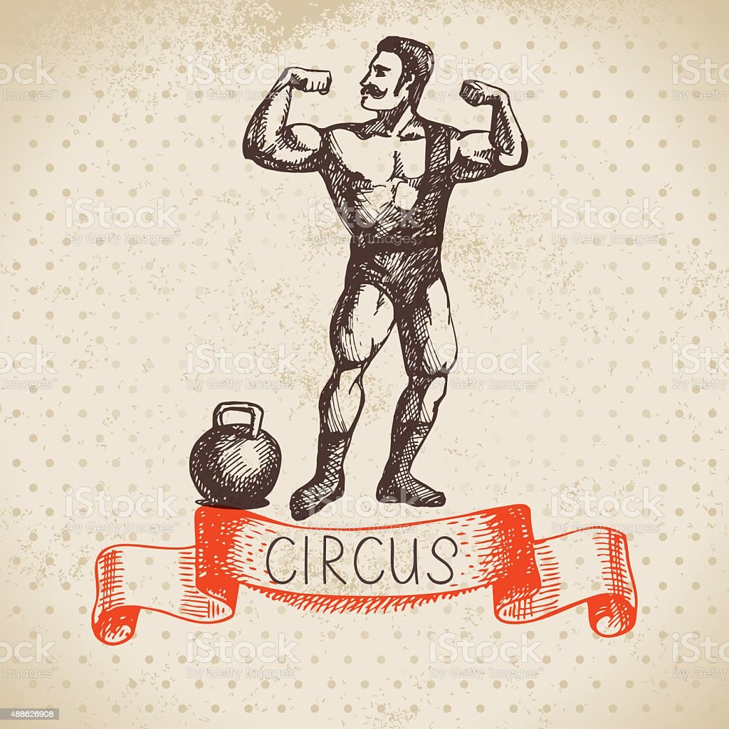 Hand drawn sketch circus and amusement vector illustration. Vint vector art illustration