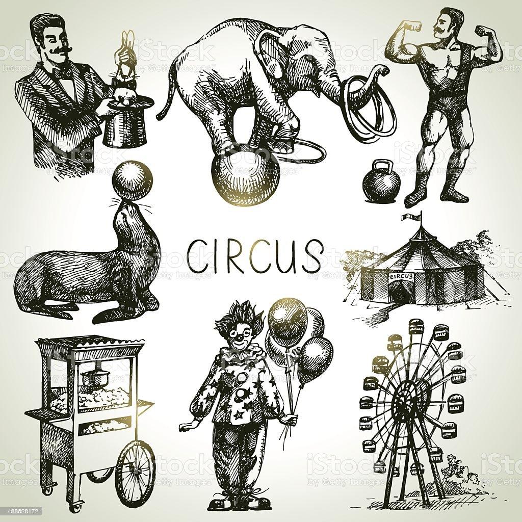Hand drawn sketch circus and amusement vector illustrations. Vin vector art illustration