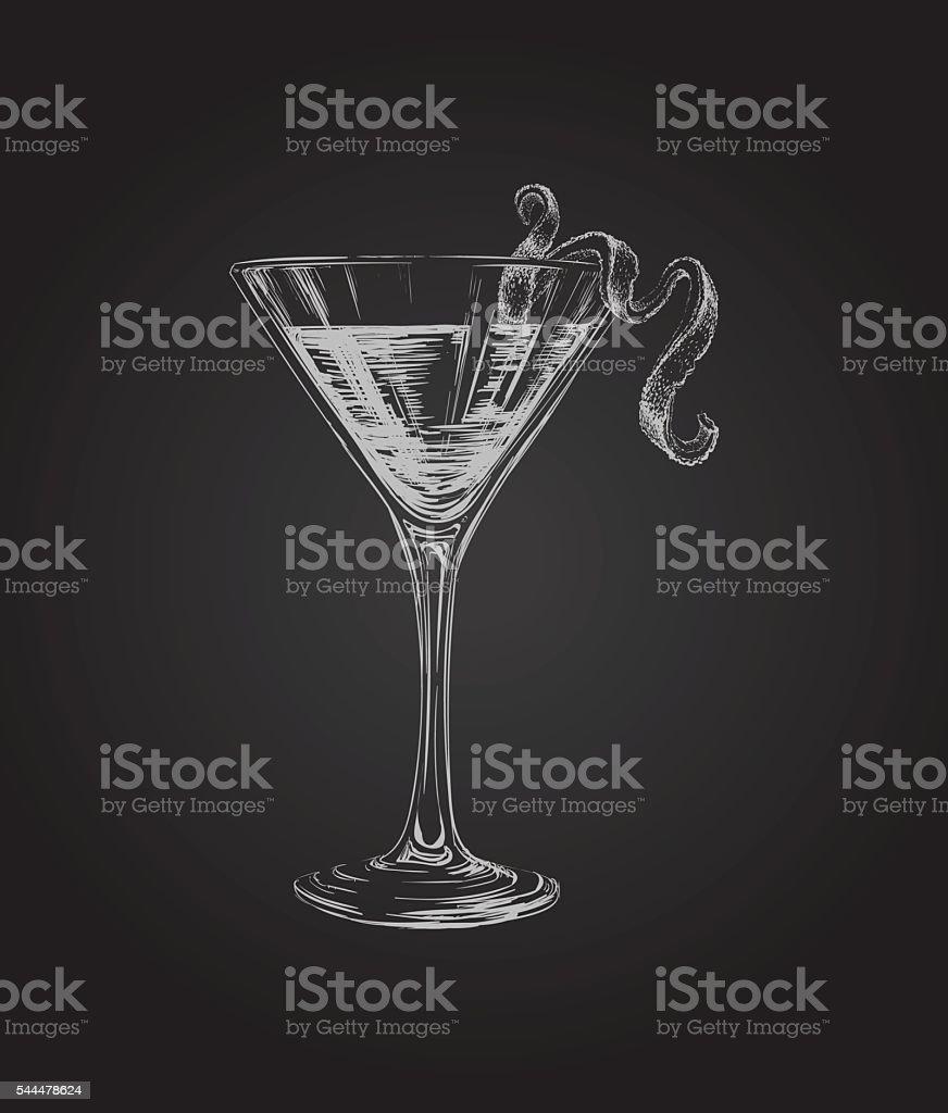 Hand Drawn Sketch Cosmopolitan Cocktail Drinks vector art illustration