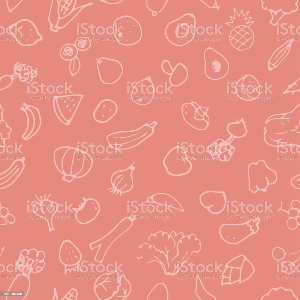 Hand drawn sketch fruits and vegetable pattern vector art illustration