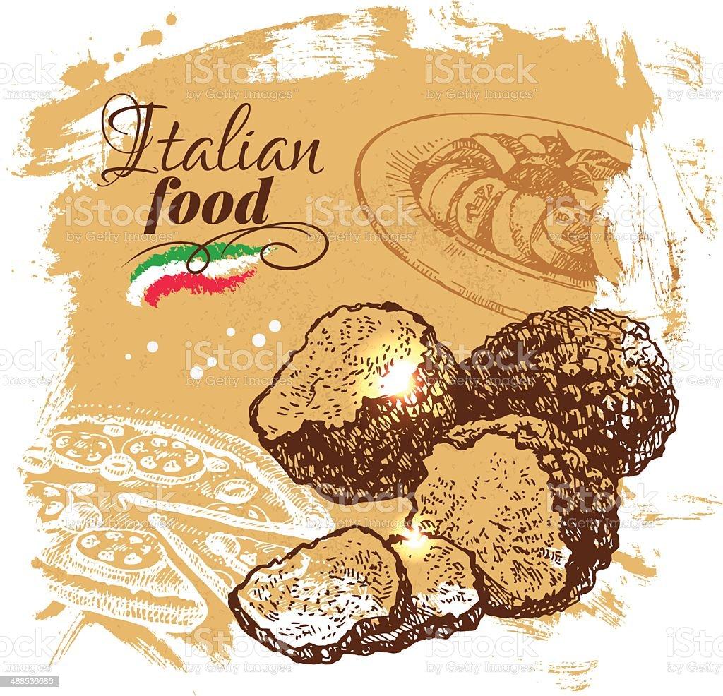 Hand drawn sketch Italian food background.Vector illustration. R vector art illustration