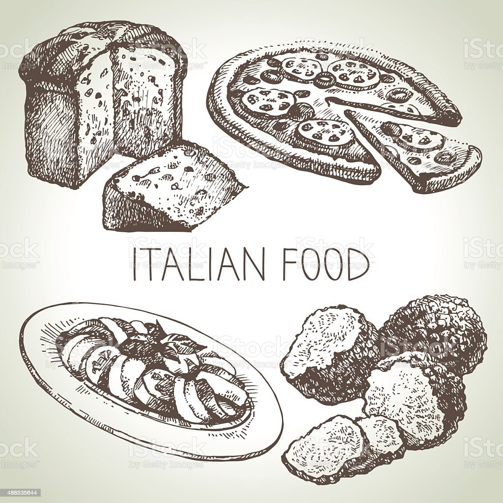 Hand drawn sketch Italian food set.Vector illustration vector art illustration
