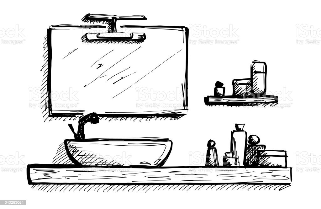 Hand drawn sketch. Linear sketch of an interior. Part of the bathroom. vector art illustration