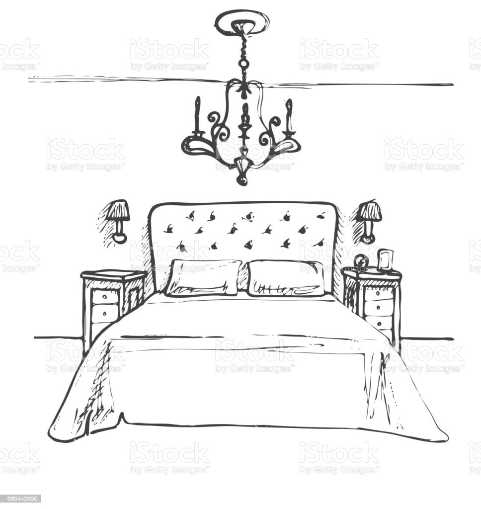 hand gezeichnete skizze lineare skizze des innenraumes skizzieren, Schlafzimmer entwurf