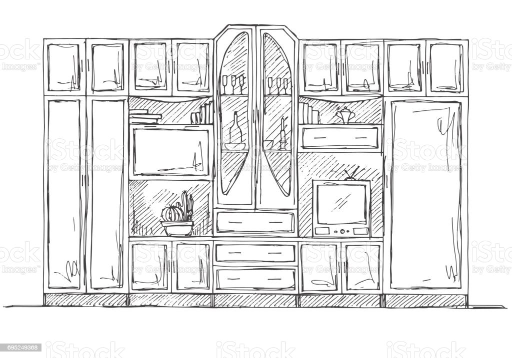 Bücherregal gezeichnet  Hand Gezeichnete Skizze Lineare Skizze Des Innenraums Bücherregal ...