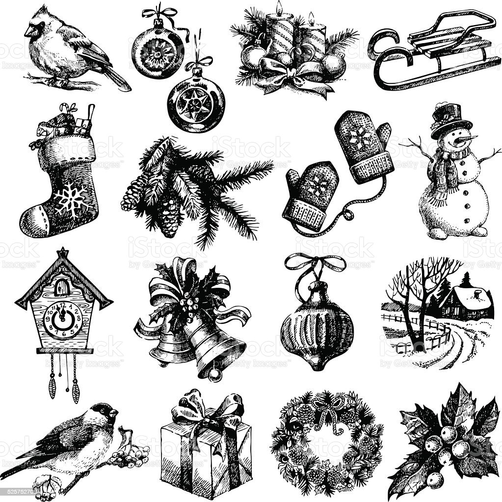 Hand drawn sketch Merry Christmas and Happy New Year set vector art illustration