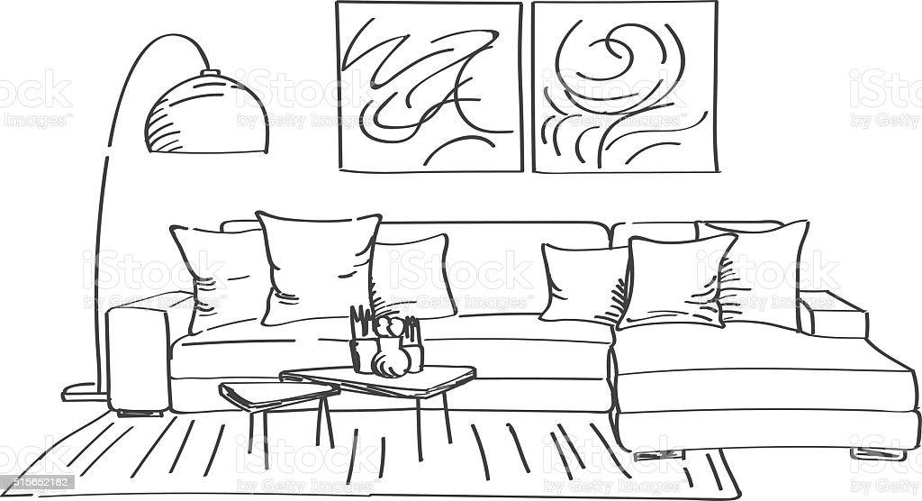 Hand drawn sketch of modern living room interior vector art illustration