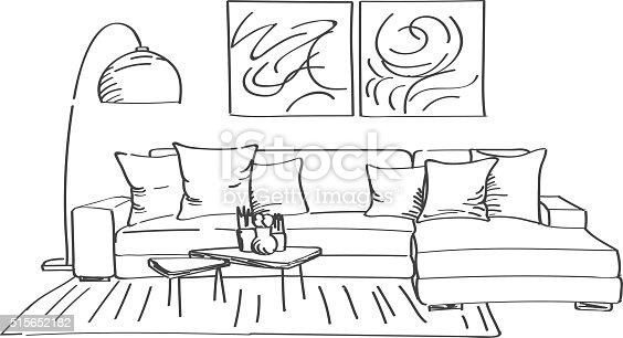 Modern Living Room Sketches hand drawn sketch of modern living room interior stock vector art