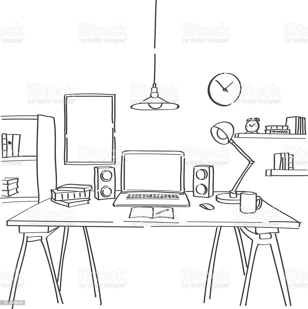 Hand drawn sketch of modern workspace vector art illustration