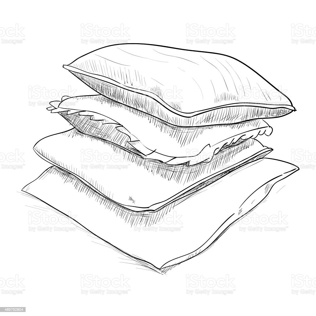 Hand drawn sketch of pillows vector art illustration