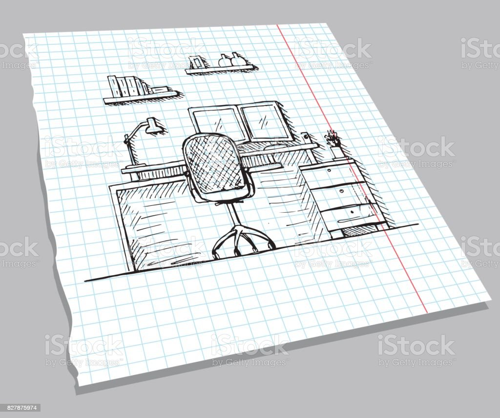 Bürostuhl skizze  Hand Gezeichnete Skizze Des Innenministeriums Auf Einem ...