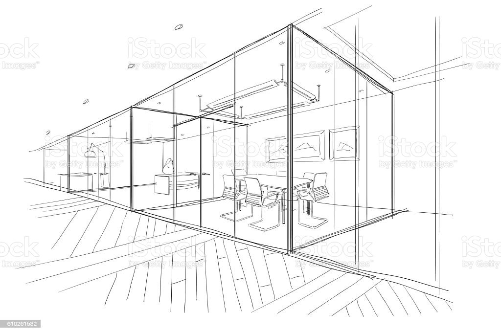 Hand drawn sketch of the office space. vector art illustration