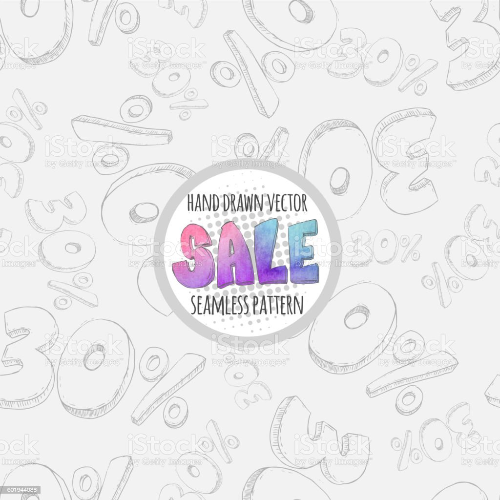 Hand drawn sketch sale seamless pattern. 30% discount vector art illustration