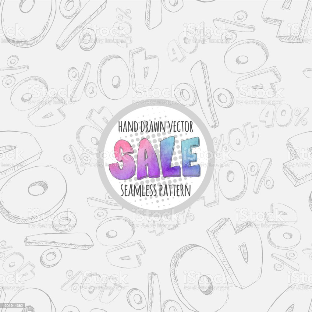 Hand drawn sketch sale seamless pattern. 40% discount. vector art illustration