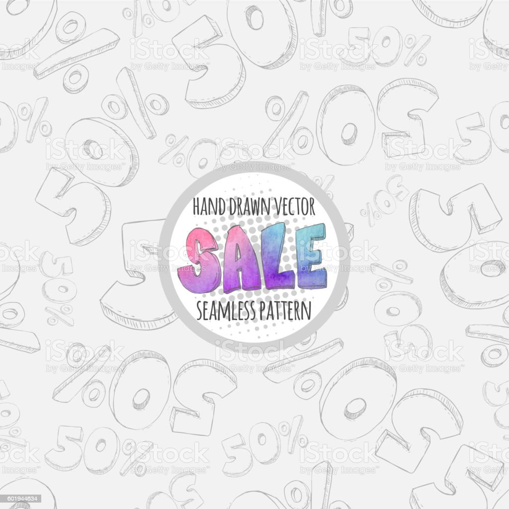 Hand drawn sketch sale seamless pattern. 50% discount vector art illustration