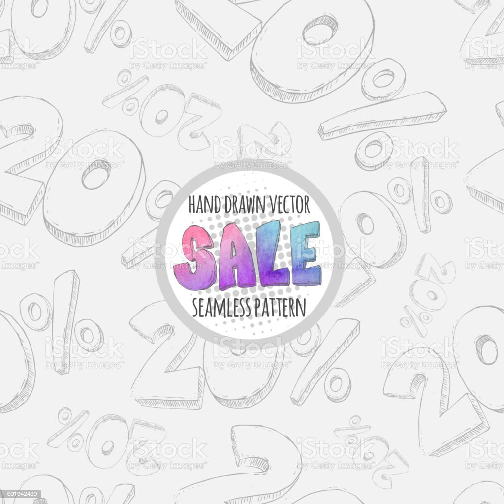 Hand drawn sketch sale seamless pattern. Twenty percent discount. vector art illustration