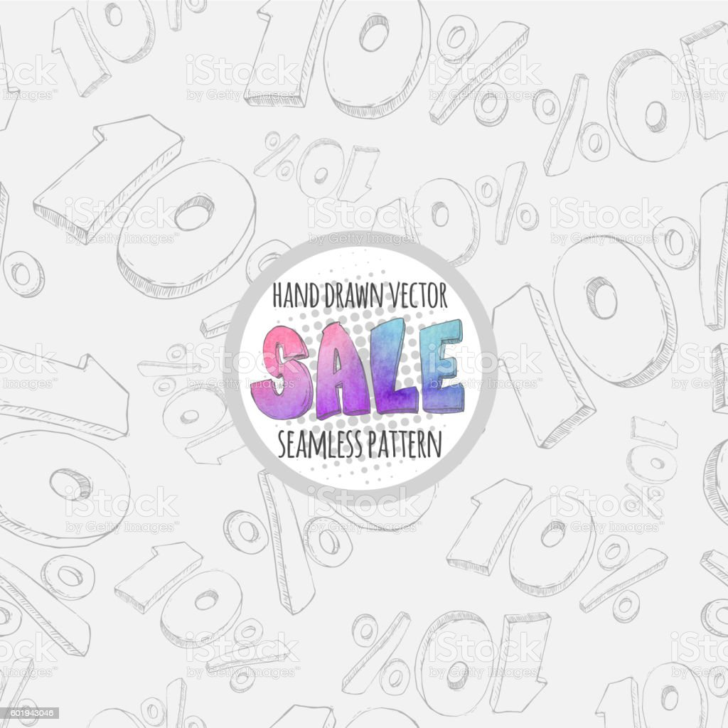 Hand drawn sketch sale seamless pattern.10% discount vector art illustration
