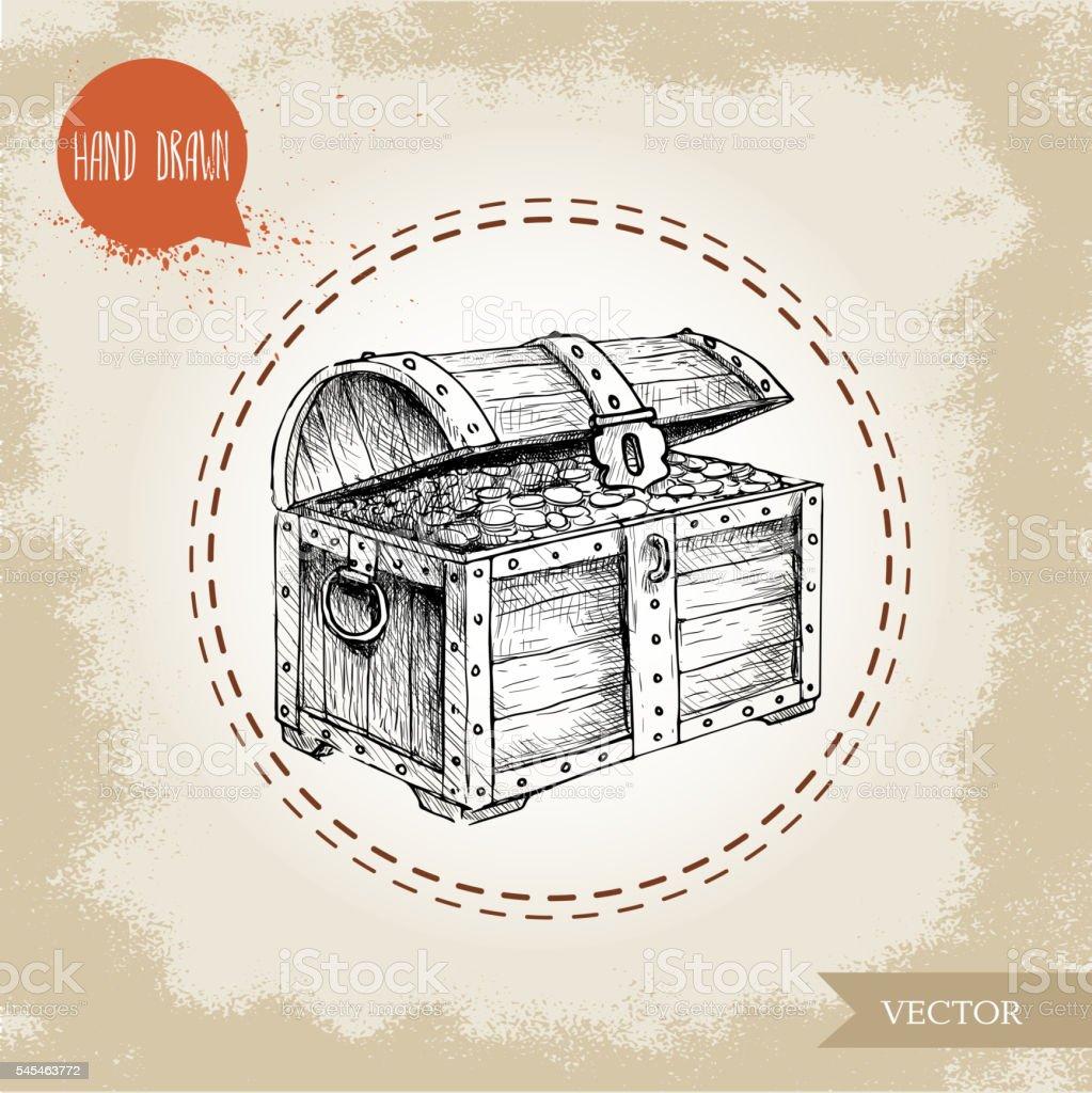 Hand drawn sketch style pirates treasure chest. vector art illustration
