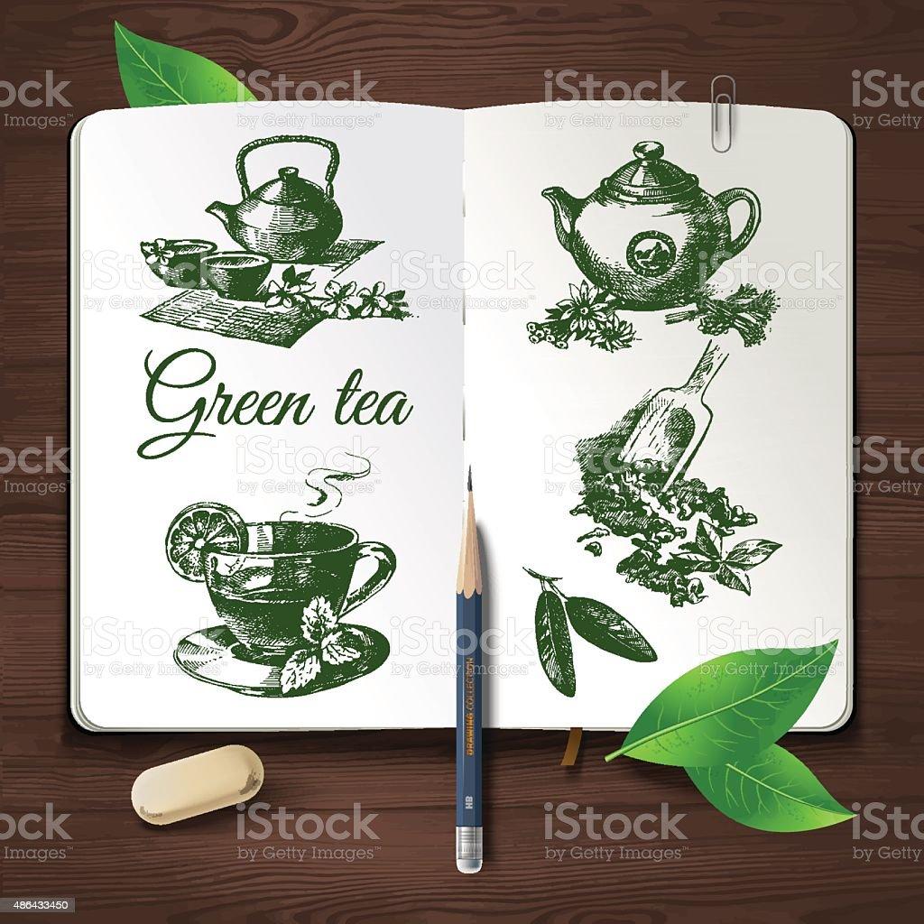 Hand drawn sketch tea set.Vector identity set on wooden backgrou vector art illustration