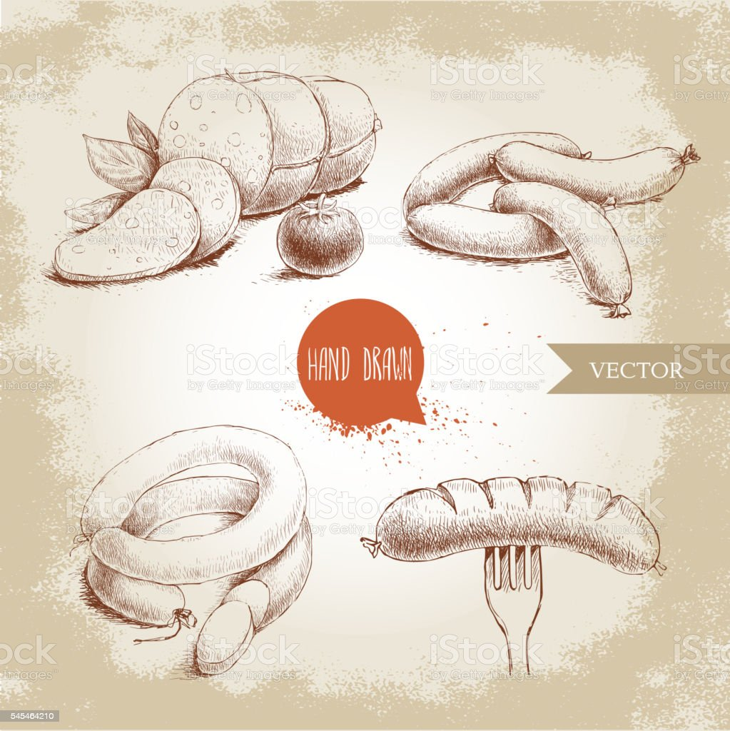 Hand drawn sketch type set of sausages. vector art illustration